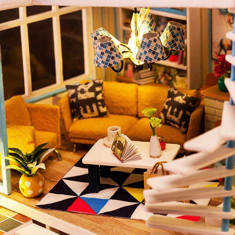 Kit Casa de boneca Tamanho Grande Moda para Móveis Casa De Bonecas De Madeira com Piscina DIY Handmade Brinquedos para Crianças Caçoa o Presente, sem D