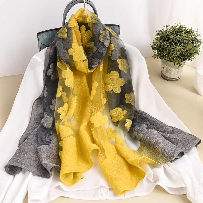 Color matching women scarf summer silk scarves for lady shawls and wraps organza Hollowed flowers beach stoles bandana foulard
