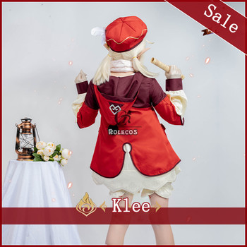 ROLECOS Genshin Impact Cosplay Costume Klee Cosplay Costume Women Red Costume Cute Girl Halloween Dress Pants Glove Hat Full Set 4