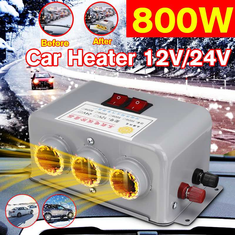 Dual Control Car Truck Heating Fans 3 Hole 800W 12V/24V/48V Winter Auto Heaters Warm Dryer Window Glass Defroster Interior