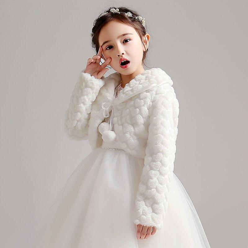 White Flower Girls Faux Fur Wrap Wedding Jacket Stole Kids Coat Short Cloak Cape For Wedding Evening Dress Bolero Shrug Shawl