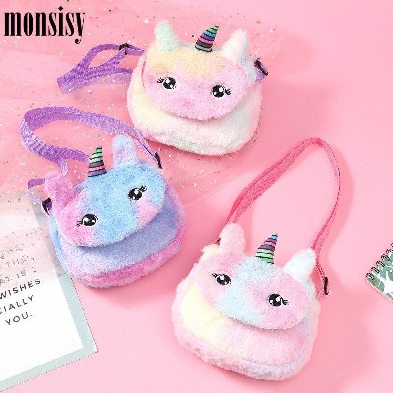 Monsisy Faux Fur Unicorn Bag For Girl Purse And Handbag Children Wallet Cute Winter Plush Crossbody Bag Kid Baby Money Coin Bags