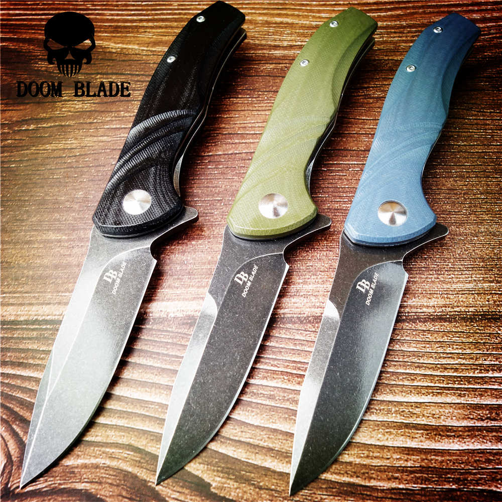203mm 100% D2 Blade Ball Bearing Knives Folding Knife Outdoor Survival Pocket Camping Hunting Knives Flipper Utility G10 Handle