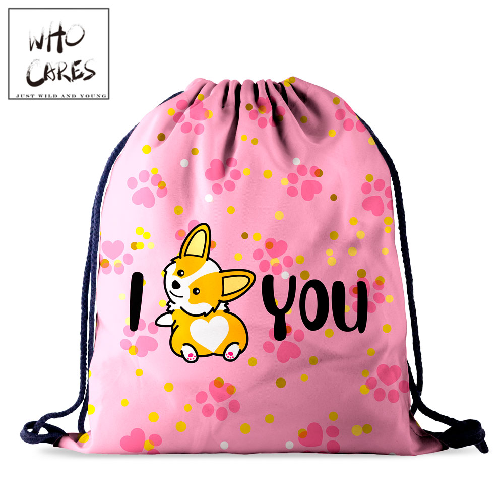 Who Cares Women Drawstring Bag Female Backpack Fashion Travel Storage Bag Pink Love You Corgi 3D Printing Portable