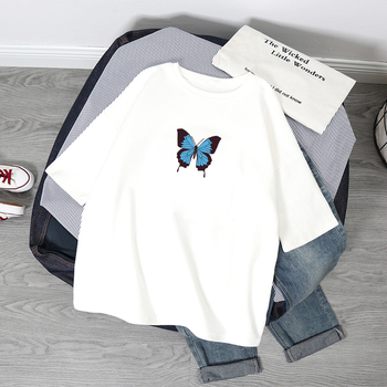 Summer Oversized T Shirt Women Butterfly Print Tshirt Fashion Casual Short Sleeve Tee Shirt Graphic Tops Female T-shirt Clothes fashion japanese anime tshirt print oversized t shirt women tops short sleeve vogue summer t shirt female harajuku loose tee