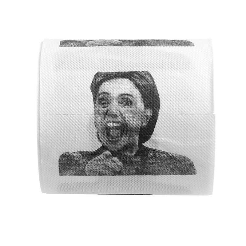 1Pcs Smooth Soft Thickened Tough Durable Hillary Clinton Funny Prank Wood Pulp Roll Household Bathroom Living Room Toilet Paper
