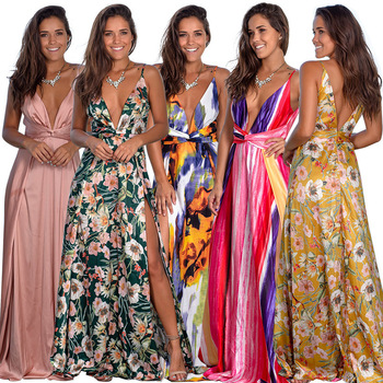 2020 Spring dress  Floral Sexy Maxi dress Long Pleated Dresses Backless robe femme V neck long evenning dress contrast color v neck backless maxi dress
