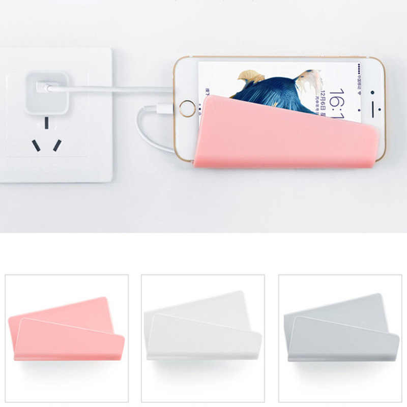 1pc Plastic Wall Shelf Charger Phone Rack Holder Hanging Stand Bracket Wall Mounted Phones Holder Base Support Shelf