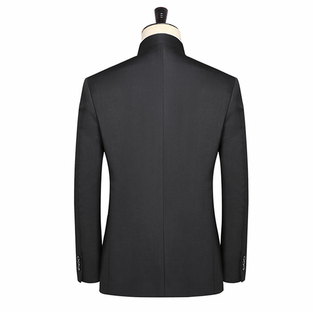 (blazer+ pants) Chinese style tunic suit 2 sets of high-end custom black suit XL S-5XL stand collar suits men business gentleman 1