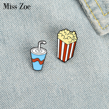 Calories or Fitness Enamel Pin Custom Chocolate Soda Popcorn Brooches Shirt Lapel Bag