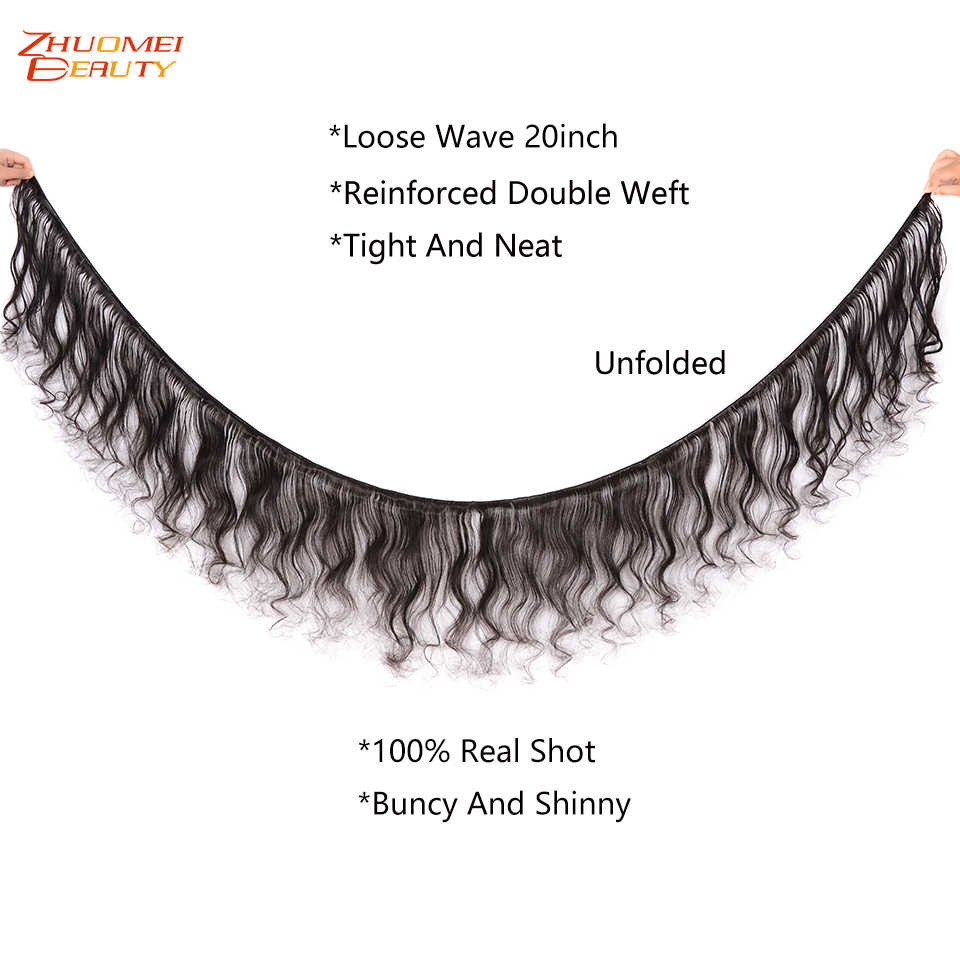 Zhuomei Beauty Loose Wave 3 Bundle With Closure P Brazilian Human Hair Weave With Frontal 13*4 Lace Frontal Remy Hair 8-28inch
