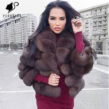 Womens Blue Fox Fur Coat 2019 Super Luxury New Design Thick Warm High Quality Short Paragraph Handmade Clothing Real
