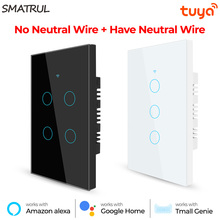 SAMTRUL Tuya Smart Home Wifi Touch Switch Light No Neutral Wire 110V 220V 1/2/3/4 Gang For APP Alexa Google Home 433RF Remote