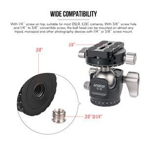 Image 4 - Andoer D 35 for Canon Nikon Sony DSLR Load 8kg Low Profile Double Panoramic Head CNC Machining Aluminum Alloy Ball Head Tripod