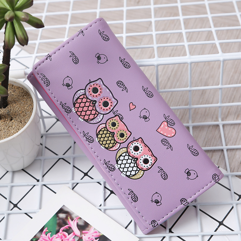 Women Clutch New Retro Owl Printing Women PU Leather Long Wallet Lady Clutch Women Wallets Female Change Coin Purses
