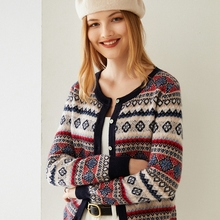 Sweater Coat Station Cashmere-Cardigan Jacquard Retro Knitting Autumn Winter Women's