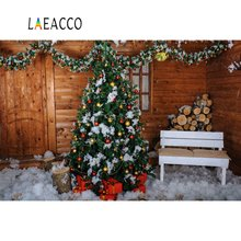 Laeacco Photography Backdrops Christmas Wooden House Tree Pine Snow Child Portrait Interior Backgrounds Photocall Photo Studio