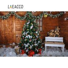 Laeacco Photography Backdrops Christmas Wooden House Tree Pine Snow Child Portrait Interior Backgrounds Photocall Photo Studio недорого