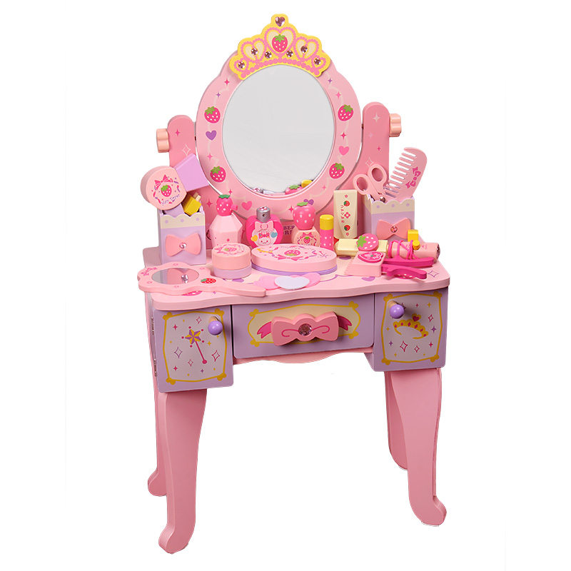 Girl Child Birthday Gift Simulation Princess Dressing Table Dressing Table 3-4-5-6 Years Old House Wooden Toy