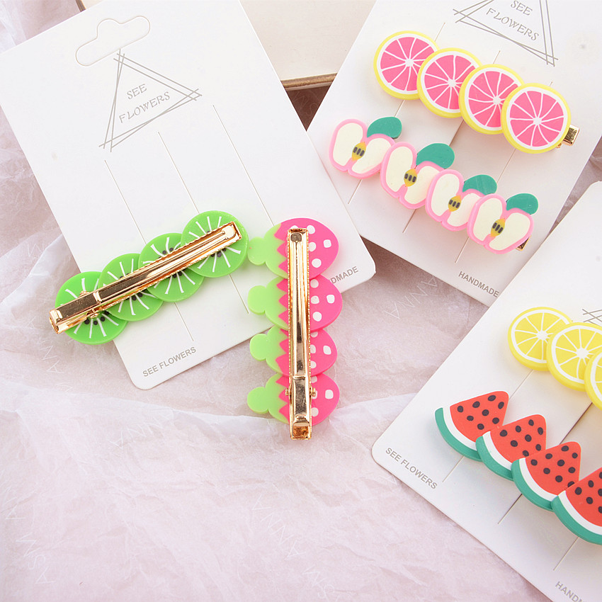 Korea Style Soft Ceramic Fruit Hairpin Children's Cute Hair Clip Hot Barrettes Headware Hair Accessories Women Girls Hair Tools