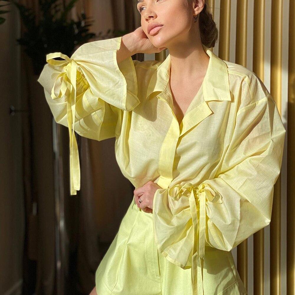 Блузка женская с длинным рукавом повседневная желтая хлопково