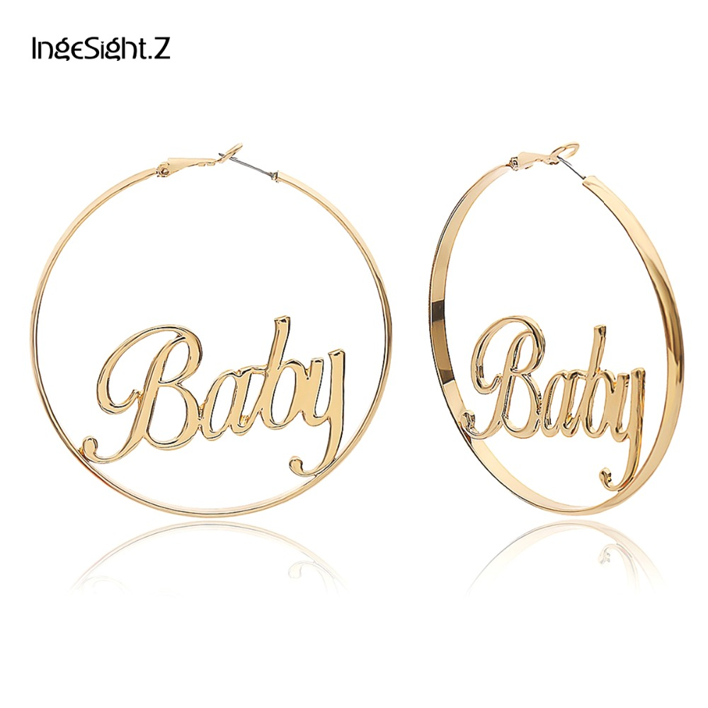 IngeSight.Z Punk Hyperbole Big Circle With Baby Femme Letter Personality Hoop Earrings Women Fashion Jewelry Oorbellen Female