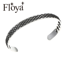 Floya Fishnet Weave Stainless Steel Cuff Bracelets Minimalist Beautiful Knitted Thick Black Strand Bangles 9mm Wide
