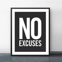 No Excuses Inspirational Quote Fitness Poster Gym Wall Decor , Motivational Art Typography Modern Canvas Painting Decoration(China)