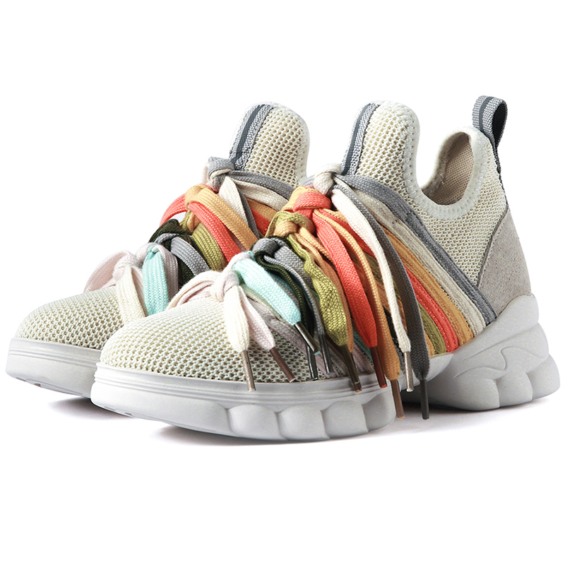 Chunky Sneakers 2019 Autumn Round Toe Black Beige Dad Shoes Women Shoes Basket Femme Size 35-40 Y018