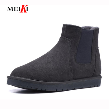 MEIKI Top Quality Fashion snow boots for men lace-up winter shoes real sheepskin leather nature wool fur ankle short boots 35-46