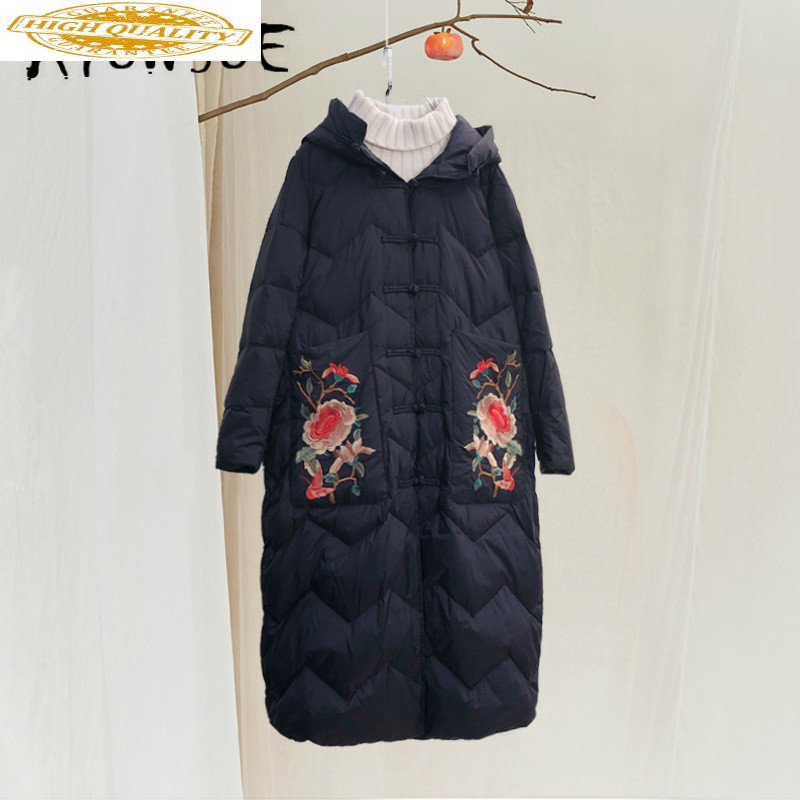 Duck Down Jacket Women Clothes 2019 Winter Coat Women Korean Vintage Embroidery Puffer Jacket Women Warm Parka 19081102 YY2051