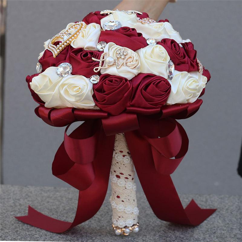 WifeLai-A 21cm Ribbon Rose Artifical Flower Bridesmaid Wedding Bouquet Romantic Bridal Holding Fowers Bouquet Buque Noiva W373B
