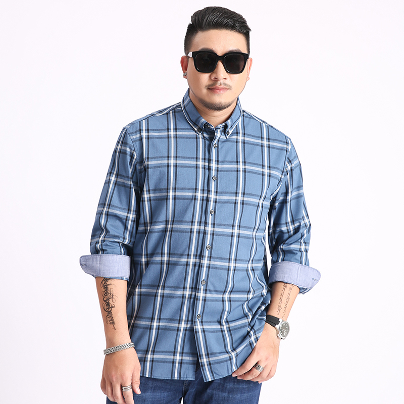 5xl 6xl 7xl 8xl 2020 New Plus Size Plaid Casual Shirt Men Long Sleeved New Spring Business Big Large High Quality Fashion