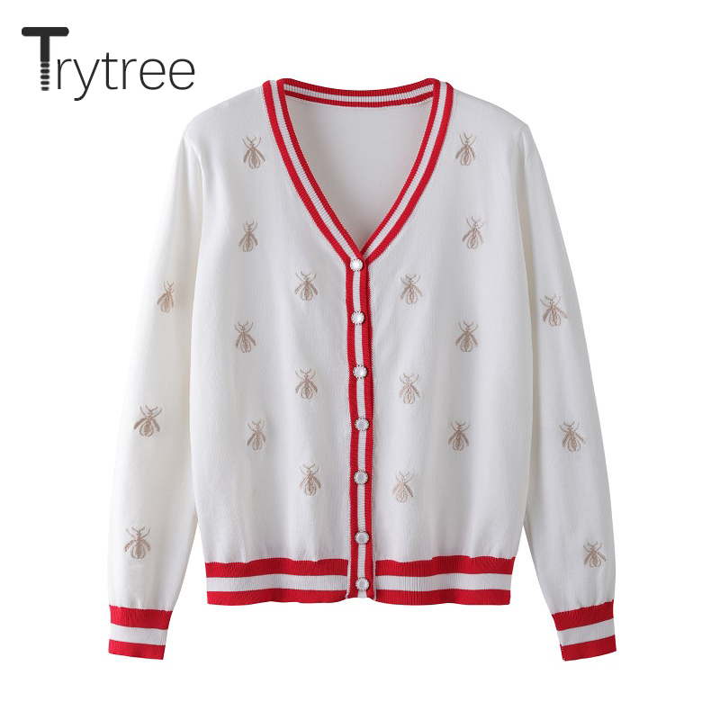 Trytree Autumn Winter Women Casual Sweater Button Bee Embroidery V-Neck Cardigans Computer Knitted Single Breasted Sweater Tops