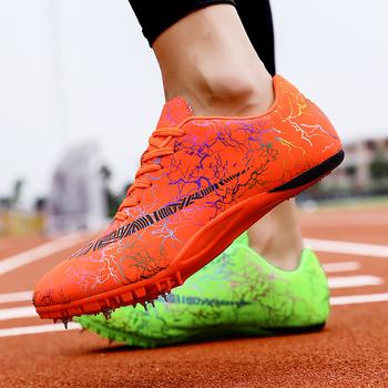Unisex buty lekkoatletyczne Pu buty sportowe do paznokci do biegania antypoślizgowe kolce sportowe do biegania mieszane kolce kolorów tanie i dobre opinie BUFEIPAI Syntetyczny Pcv podłogi Profesjonalne Dla dorosłych Oddychające Masaż Buty utwór i pola Średnie (b m) RUBBER