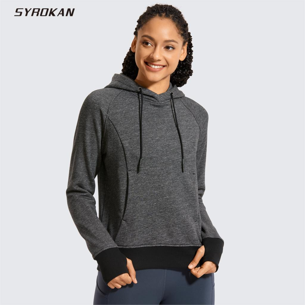 SYROKAN Women's Cotton Pullover Hoodies Drawstring Hooded Sweatshirt With Kangaroo Pocket Thumbholes