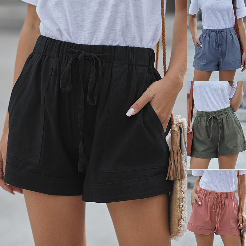 Plus Size Pocket Shorts Women Summer 2020 Streetwear Casual Drawstring Running Gym Sports Shorts Women Loose Short Feminino J013