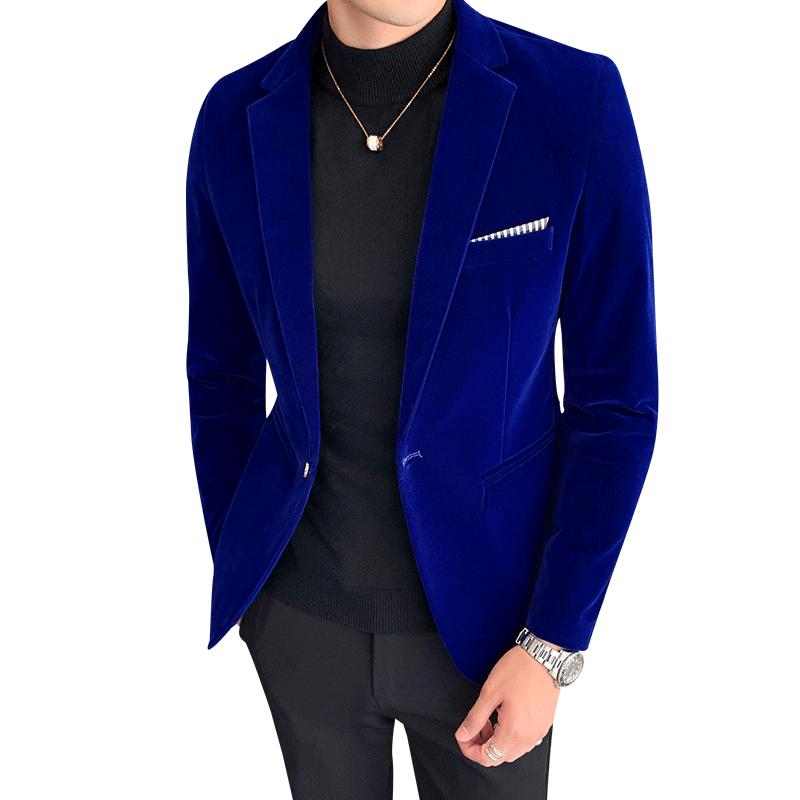 Men's Blazer Fall Winter Velvet Slim Suit Jacket Fashion Men's Trend And Business Gentleman High-end Large Size M-5XL Suit Coat