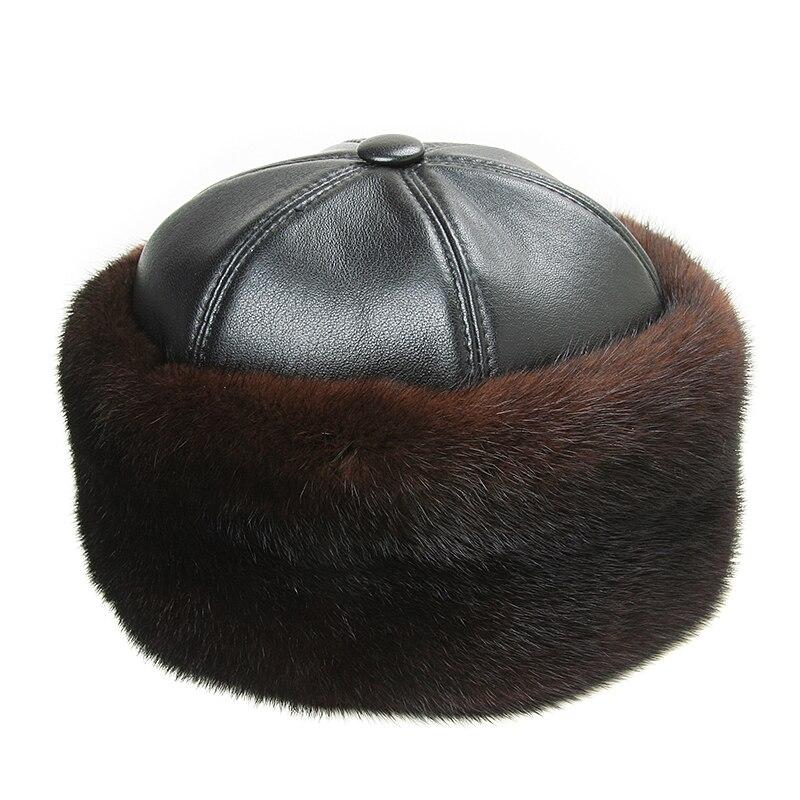 Hiver casquettes hommes Bomber chapeaux réel vison fourrure casquette extérieur chaud épaissir homme casquette rétro élégant aviateur chapeau russe en cuir avec fourrure - 4