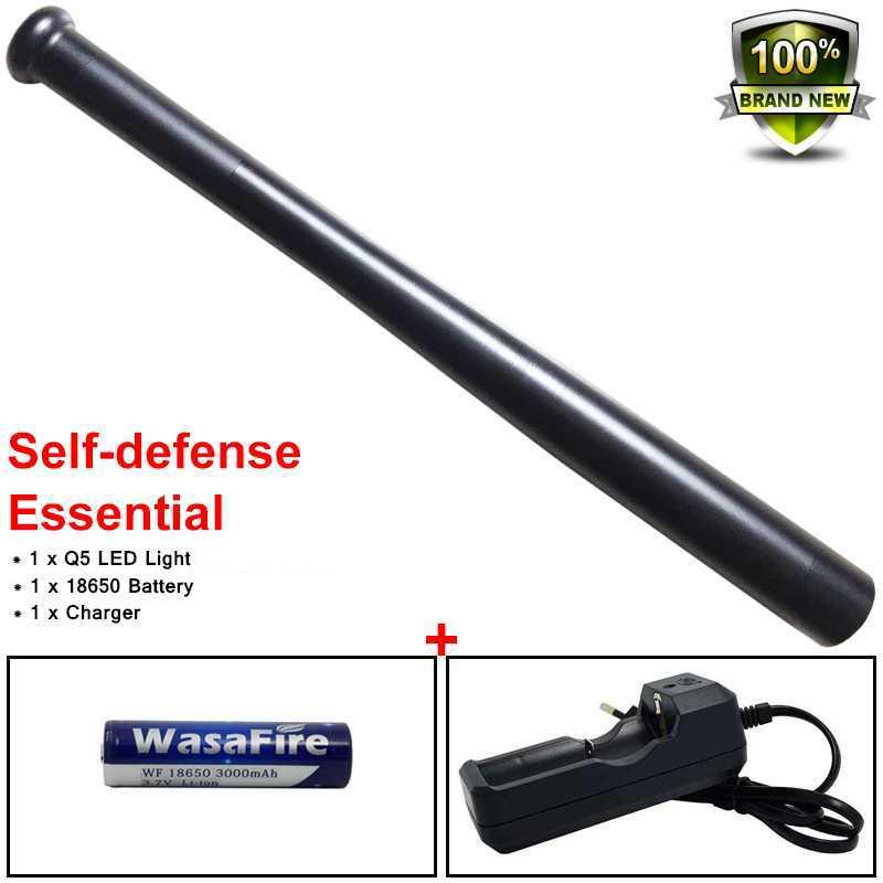 Q5 Portable Tactical Flashlight Waterproof 3 Modes Self Defense Lantern Baseball Bat Led Torch Light With 18650 Battery+Charger