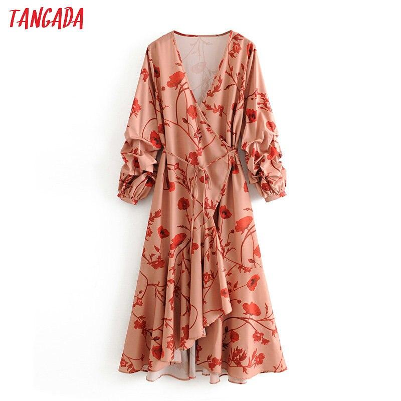 Tangada Fashion Floral Print Maxi Dresses Women Long Sleeve Dress With Slash Boho Style Female Beach Long Dress 3H364