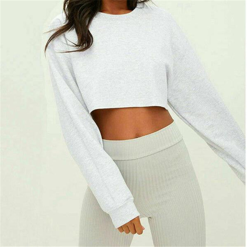Women's Casual Long Sleeve Sweatshirt Ladies Fashion Jumper Crop Top Females Pullover New Colthes Hot Selling New 2019