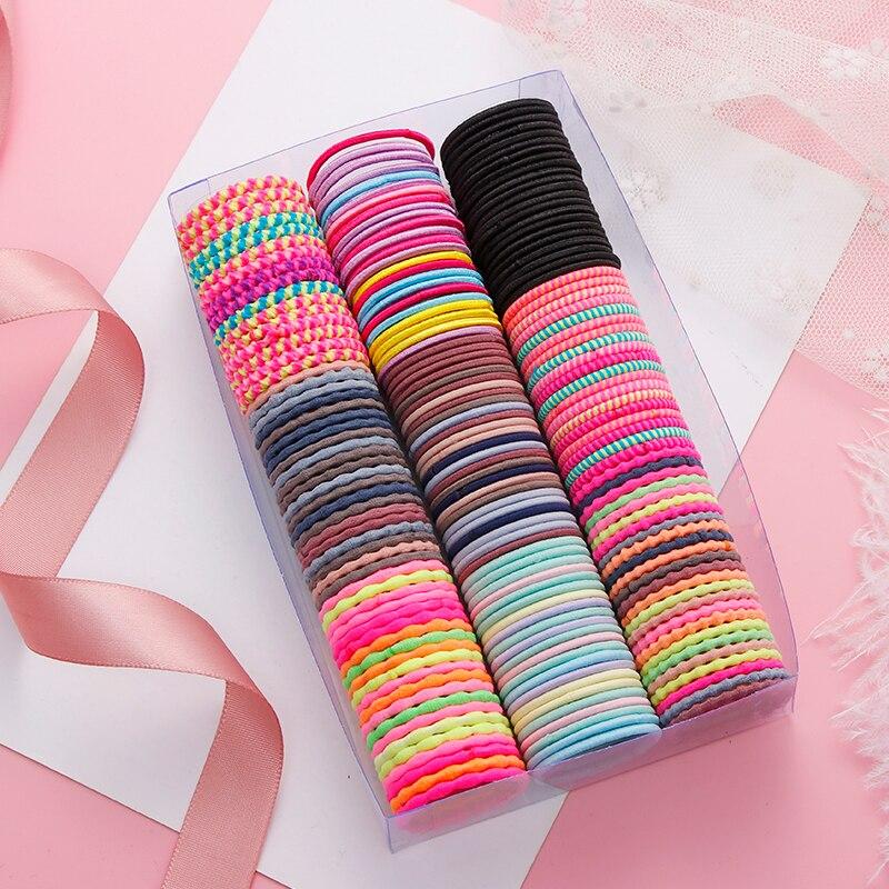 50PCS/Set Girls Colorful Spiral Elastic Hair Band Children Cute Ponytail Holder Rubber Band Headband Scrunchies Hair Accessories