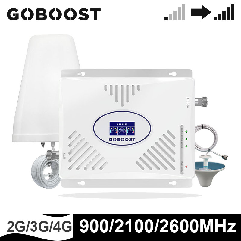 GOBOOST Triple Band Signal Booster 900 2100 2600 MHz Ceel Mobile Phone Signal Repeater Cellular Amplifier Sets (GSM,Band1,Band7)