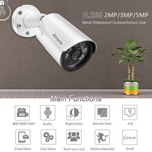 Image 2 - AZISHN H.265+ 5MP/3MP/2MP IP Camera ONVIF Audio 6IR Night Vision Metal IP67 Outdoor DC/POE CCTV Security Video Surveillance Cam