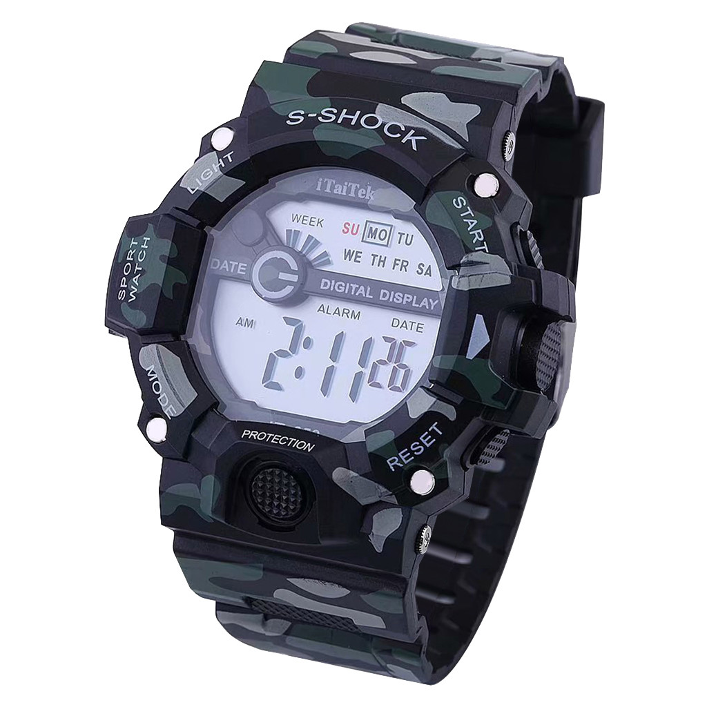 Digital Watch Men Multifunctional Sports Digital Electronic Camouflage Fashion Casual Wrist Watch Plastic Buckle Round Relojes