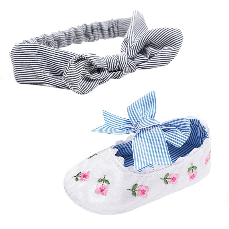 Bowknot Newborn Boys Girls Shoes Cotton Baby Shoes Flower Print Anti-slip Sneaker Cute Baby Crib Shoes With Headbands