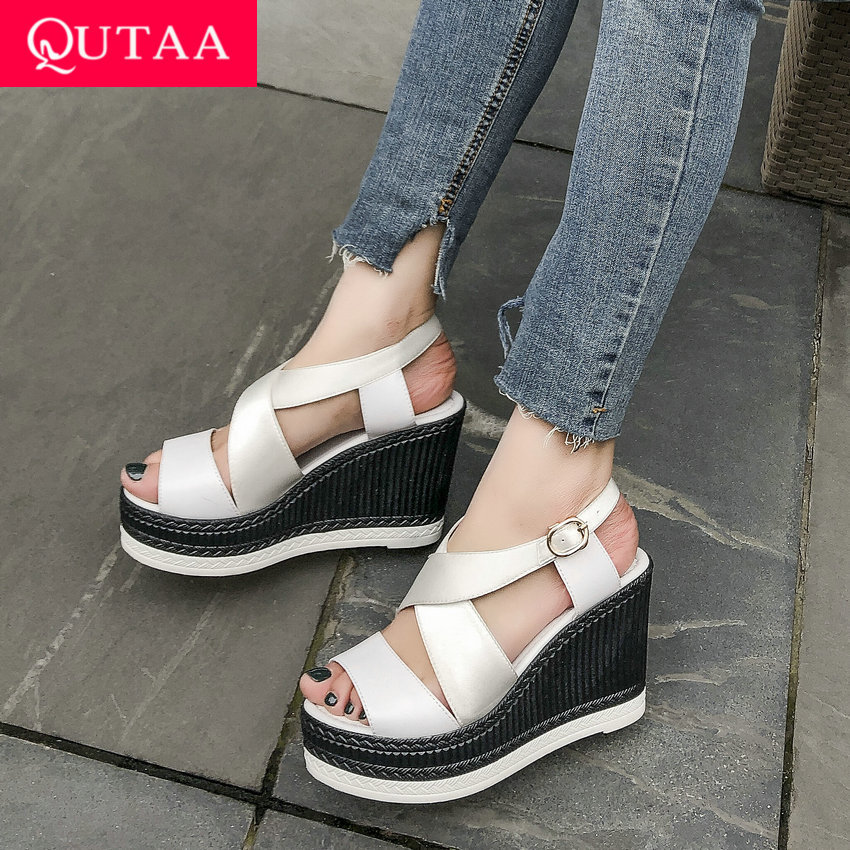 QUTAA 2019 Women Sandals Cow Leather Stretch Fabric Wedge High Heel Round Open toed Summer Leisure