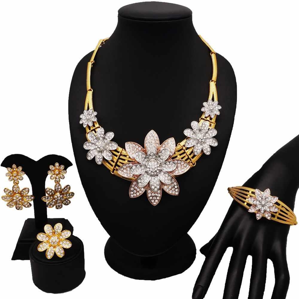 ドバイゴールドジュエリーセット女性ファッションネックレスファインジュエリーは女性ネックレス 24 18k ゴールド新デザインネックレス