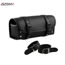 Motorcycle Front Fork Tool Bag Luggage Waterproof Storage Pouch Luggage PU Leather Bag with 2 Straps Black Universal for Harley